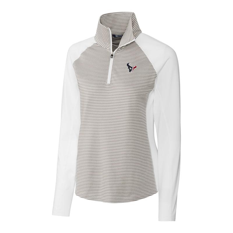 Houston Texans Cutter & Buck Women's Forge Tonal Stripe Half-Zip Pullover Jacket - White