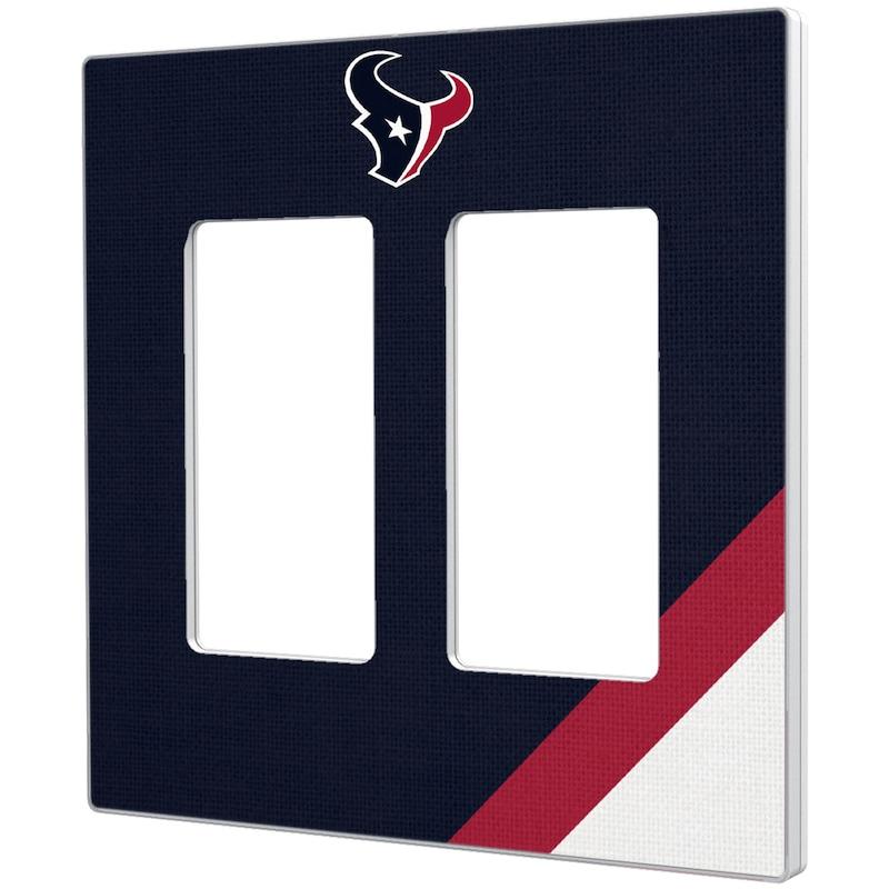 Houston Texans Diagonal Stripe Double Rocker Light Switch Plate