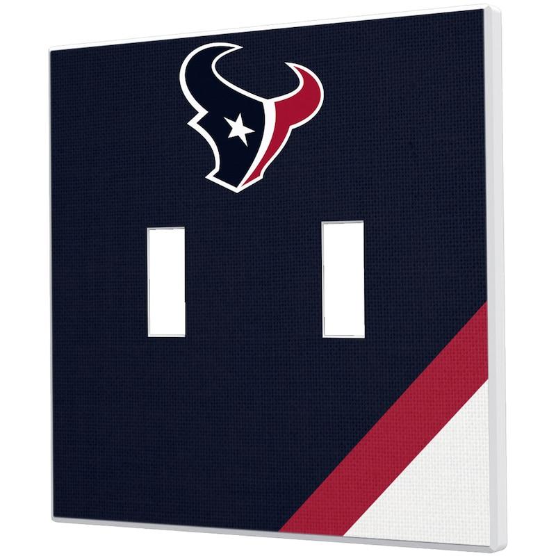 Houston Texans Diagonal Stripe Double Toggle Light Switch Plate
