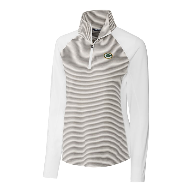 Green Bay Packers Cutter & Buck Women's Forge Tonal Stripe Half-Zip Pullover Jacket - White