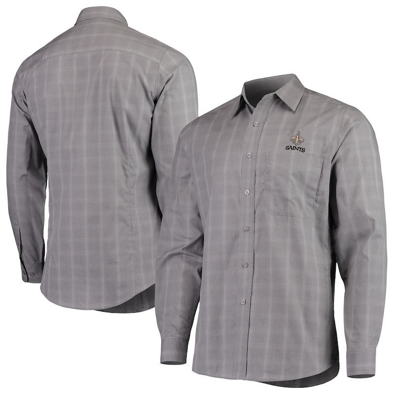New Orleans Saints Antigua Agent Woven Long Sleeve Button-Up Shirt - Charcoal