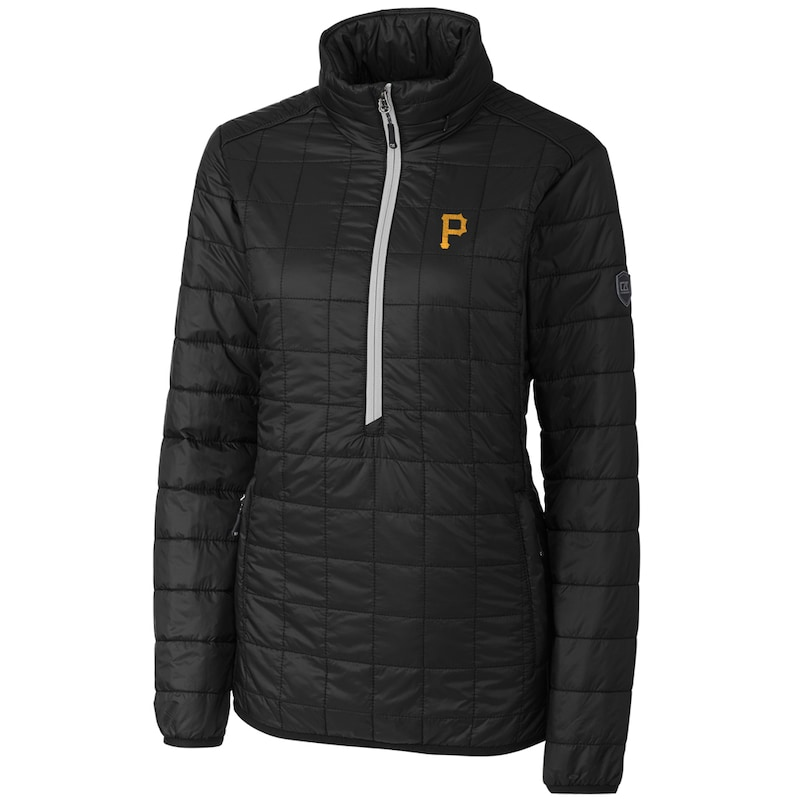 Pittsburgh Pirates Cutter & Buck Women's Rainier Half-Zip Popover Jacket - Black