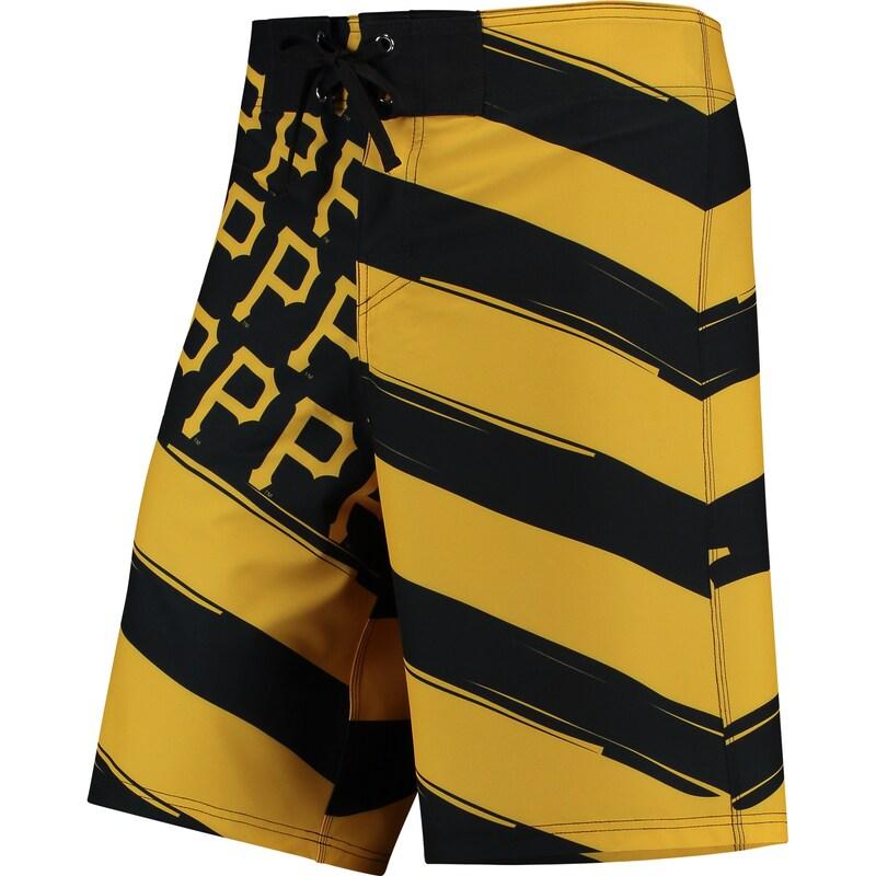 Pittsburgh Pirates Diagonal Flag Boardshorts - Black/Yellow
