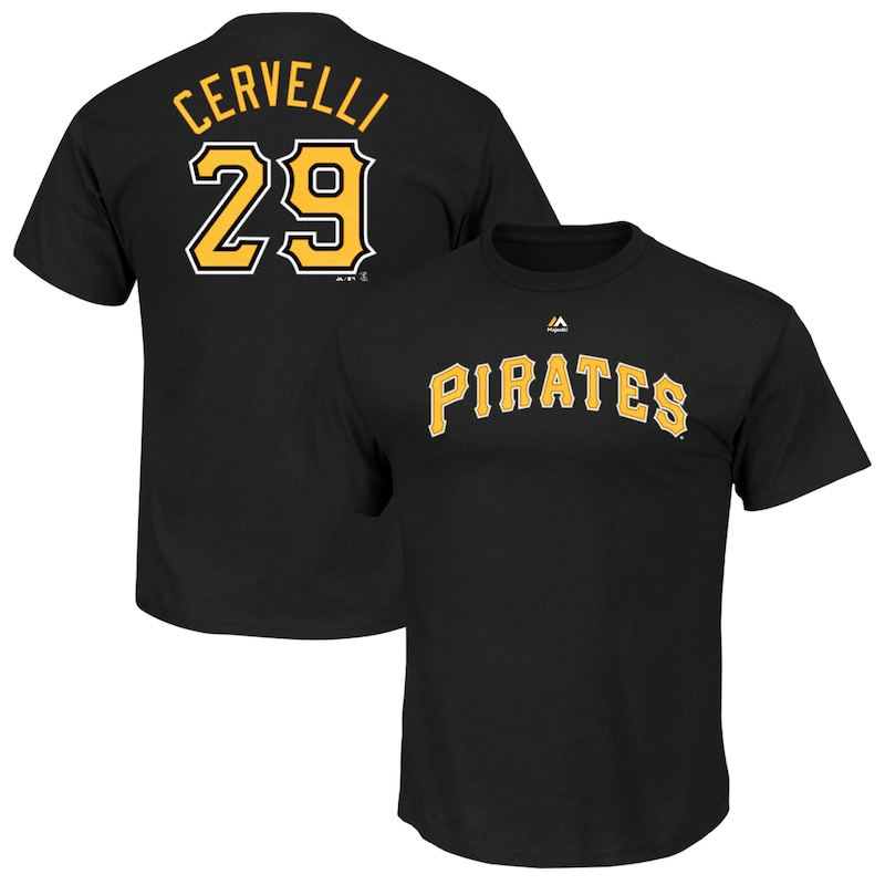 Francisco Cervelli Pittsburgh Pirates Majestic Official Name & Number T-Shirt - Black