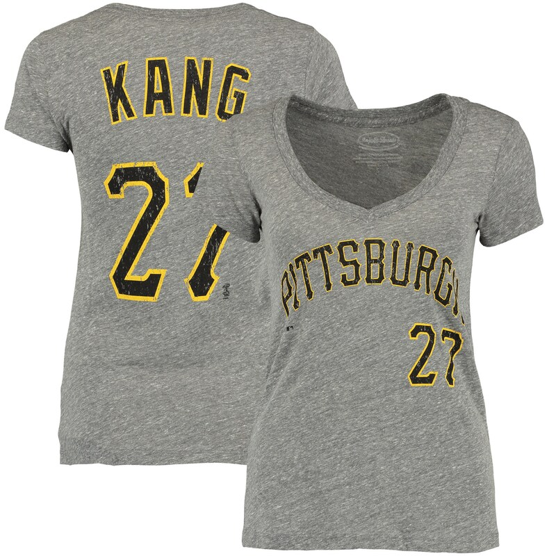Jung Ho Kang Pittsburgh Pirates Majestic Threads Women's Name and Number V-Neck T-Shirt - Gray