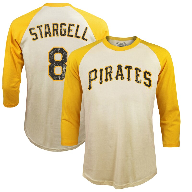 Willie Stargell Pittsburgh Pirates Majestic Threads Softhand Cotton Cooperstown 3/4-Sleeve Raglan T-Shirt - Cream