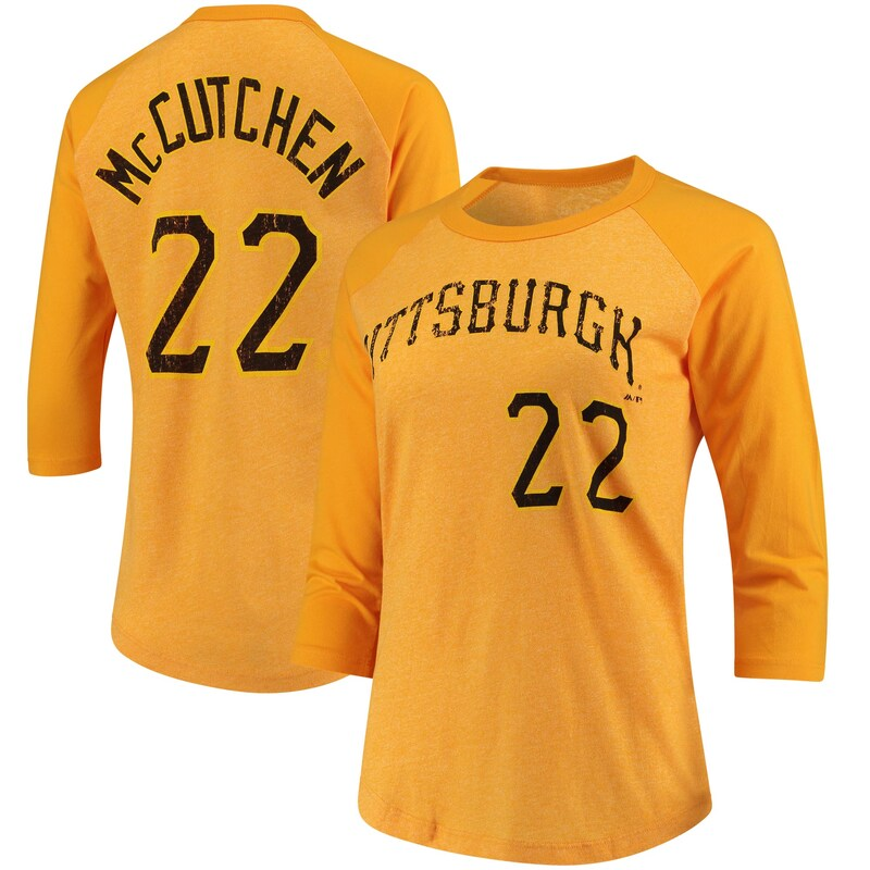 Andrew McCutchen Pittsburgh Pirates Majestic Threads Women's 3/4-Sleeve Raglan Name & Number T-Shirt - Gold