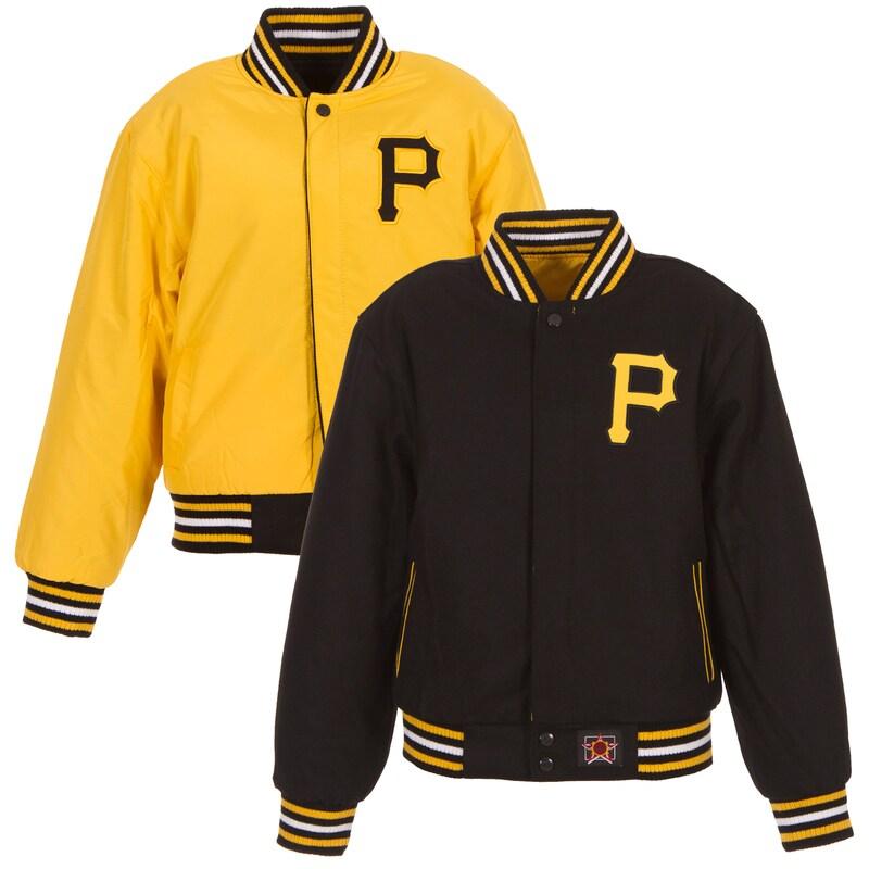 Pittsburgh Pirates JH Design Youth Wool Reversible Logo Full-Snap Jacket - Black/Gold