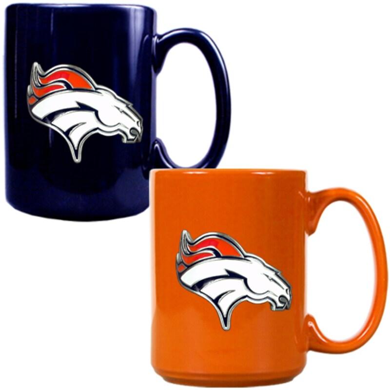 Denver Broncos 15oz. Coffee Mug Set - Navy/Orange