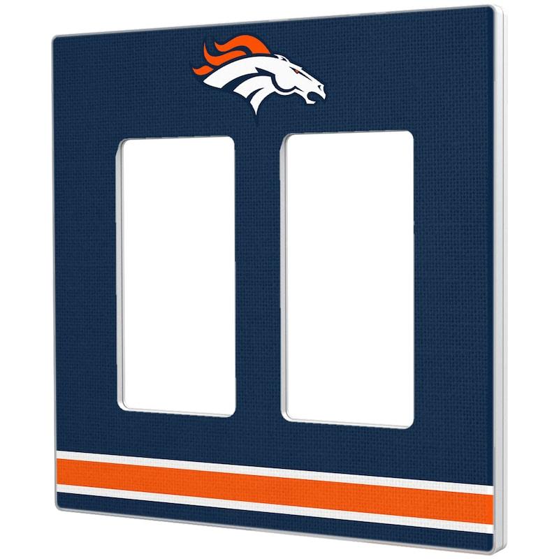 Denver Broncos Stripe Double Rocker Light Switch Plate