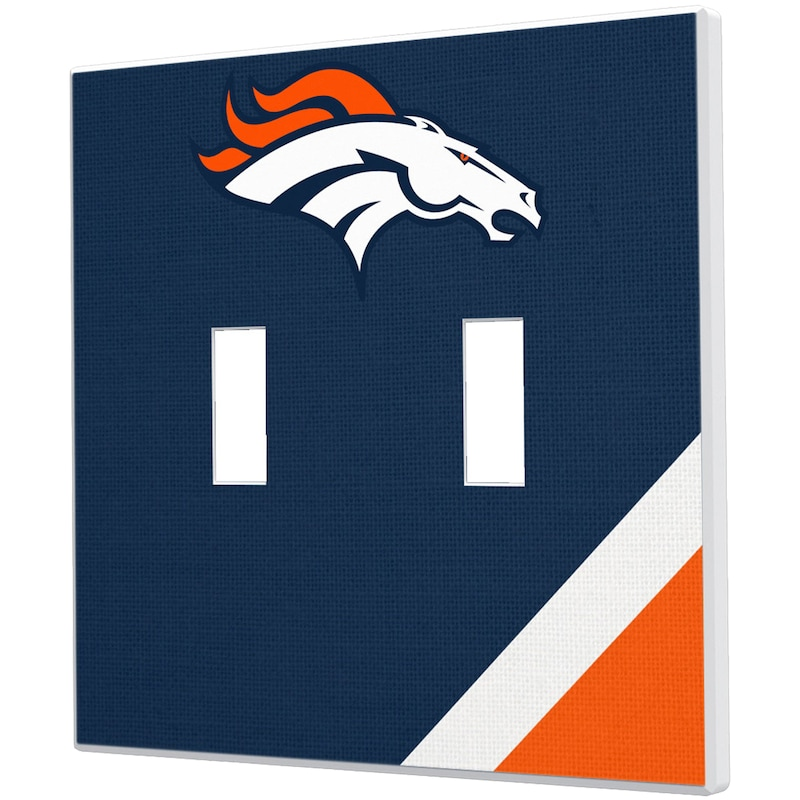 Denver Broncos Diagonal Stripe Double Toggle Light Switch Plate
