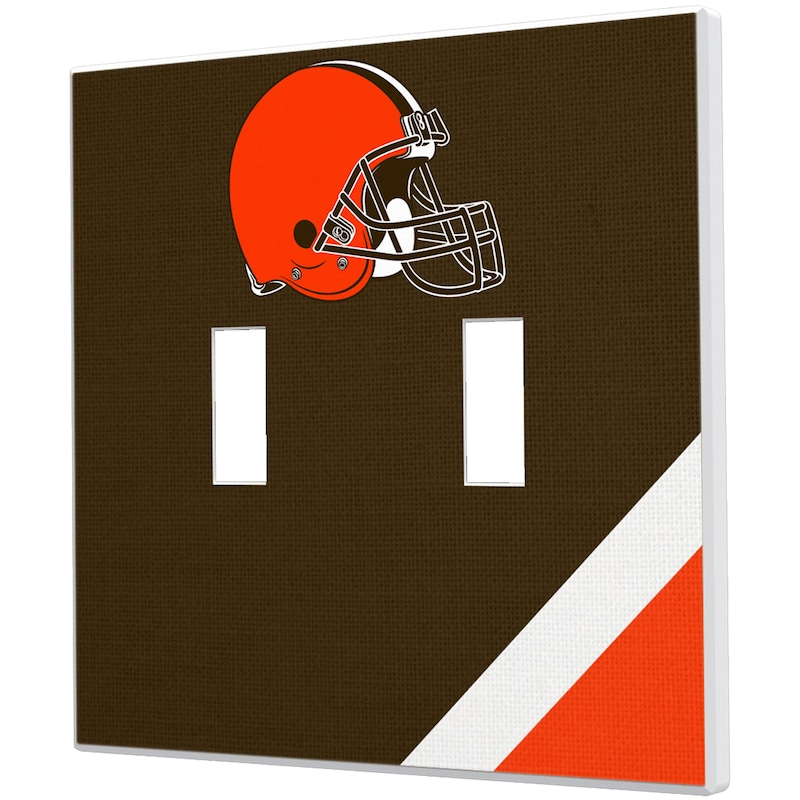 Cleveland Browns Diagonal Stripe Double Toggle Light Switch Plate