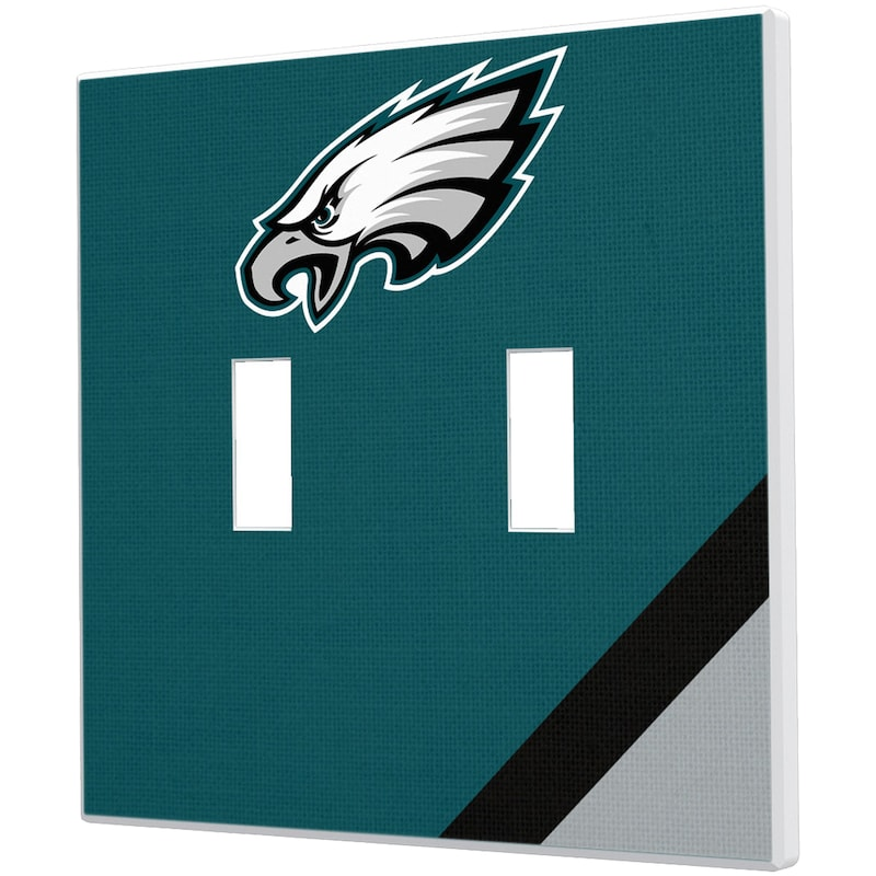 Philadelphia Eagles Diagonal Stripe Double Toggle Light Switch Plate