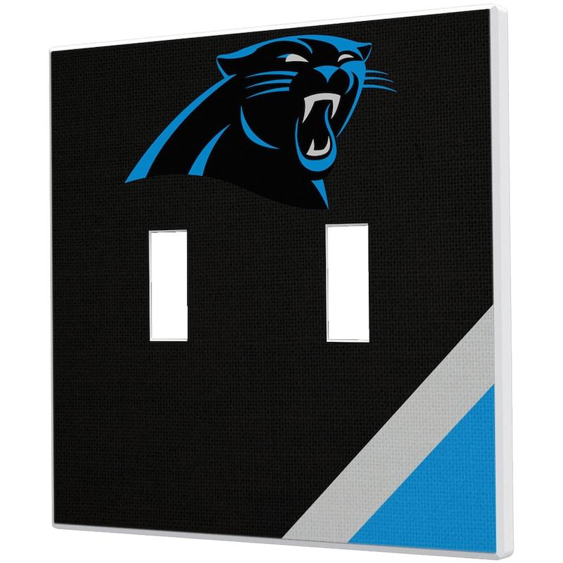 Carolina Panthers Diagonal Stripe Double Toggle Light Switch Plate