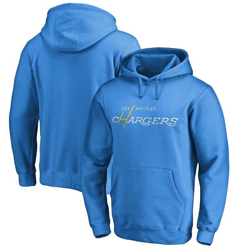 Los Angeles Chargers NFL Pro Line by Fanatics Branded Multi Color Vintage Logo Pullover Hoodie - Powder Blue