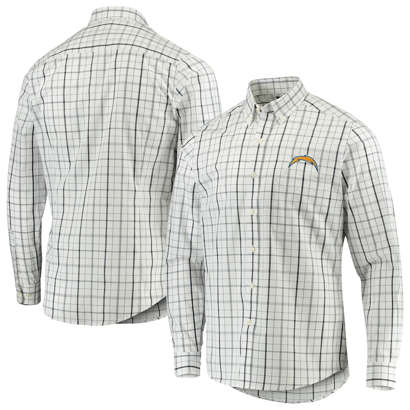 Los Angeles Chargers Antigua Keen Long Sleeve Button-Down Shirt - White/Navy