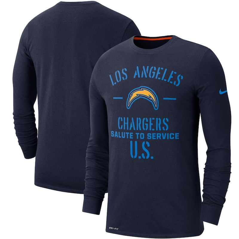 Los Angeles Chargers Nike 2019 Salute to Service Sideline Performance Long Sleeve Shirt - Navy
