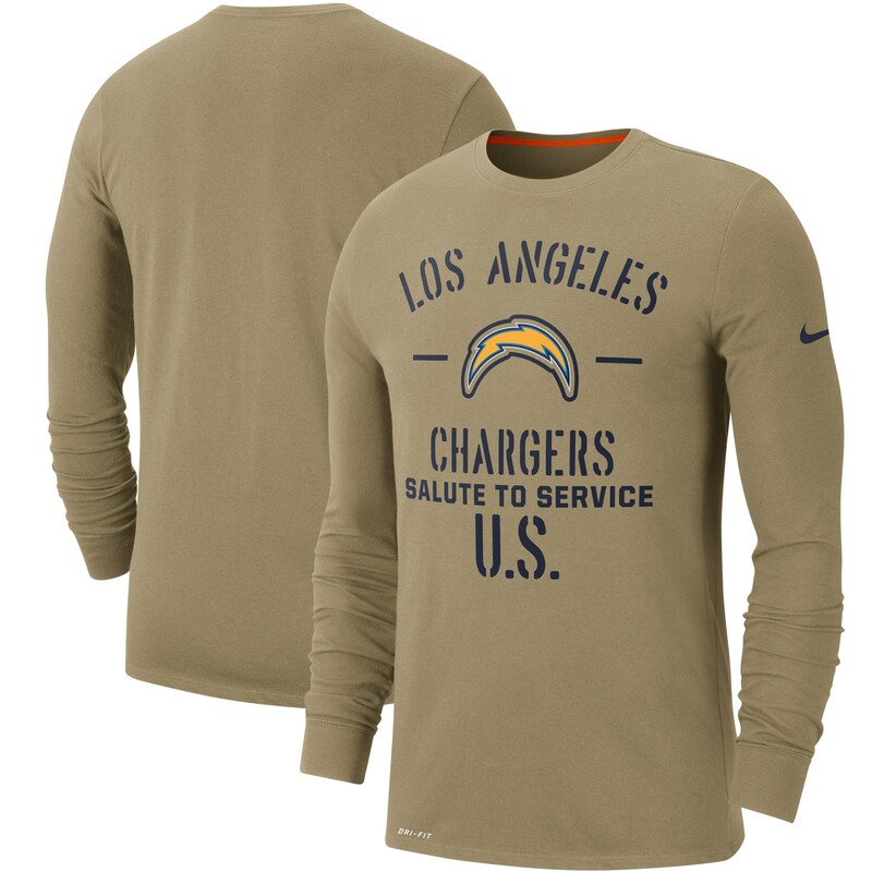 Los Angeles Chargers Nike 2019 Salute to Service Sideline Performance Long Sleeve Shirt - Tan