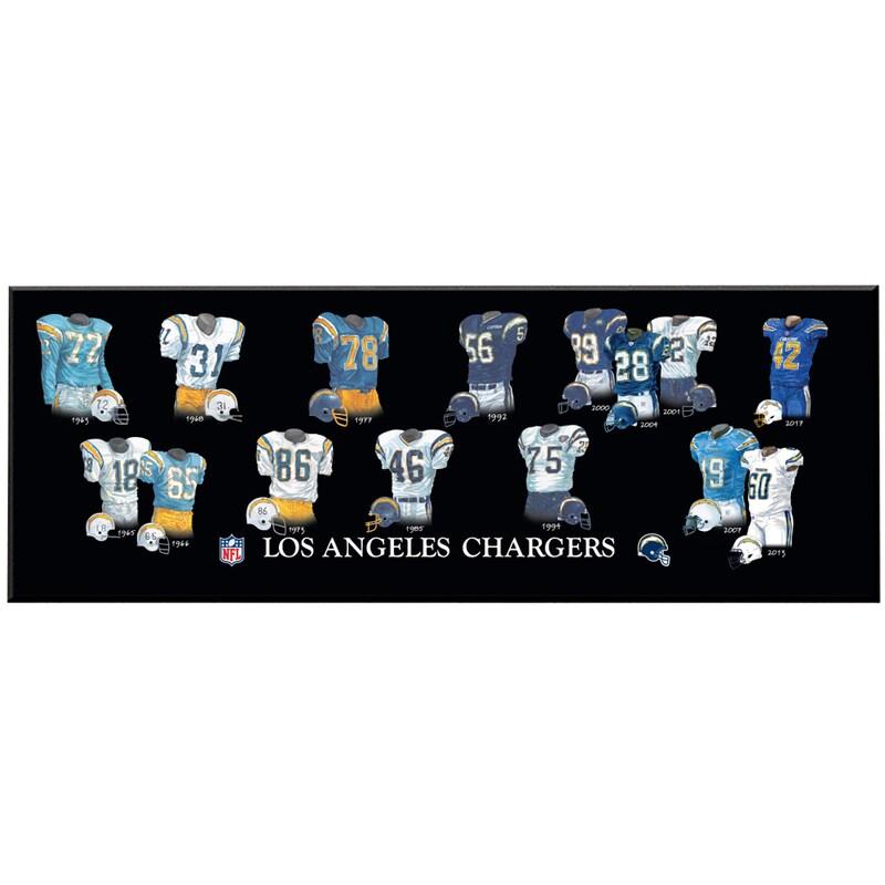 Los Angeles Chargers 8'' x 24'' Uniform Evolution Plaque