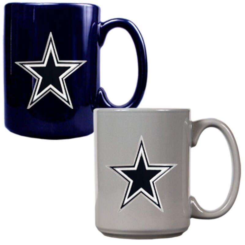 Dallas Cowboys 15oz. Coffee Mug Set - Navy/Gray