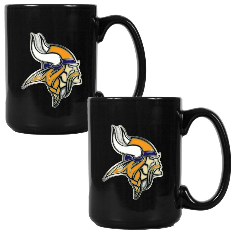 Minnesota Vikings 15oz. Coffee Mug Set - Black