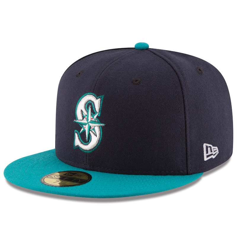 Seattle Mariners New Era Alternate Authentic Collection On Field 59FIFTY Fitted Hat - Navy/Aqua