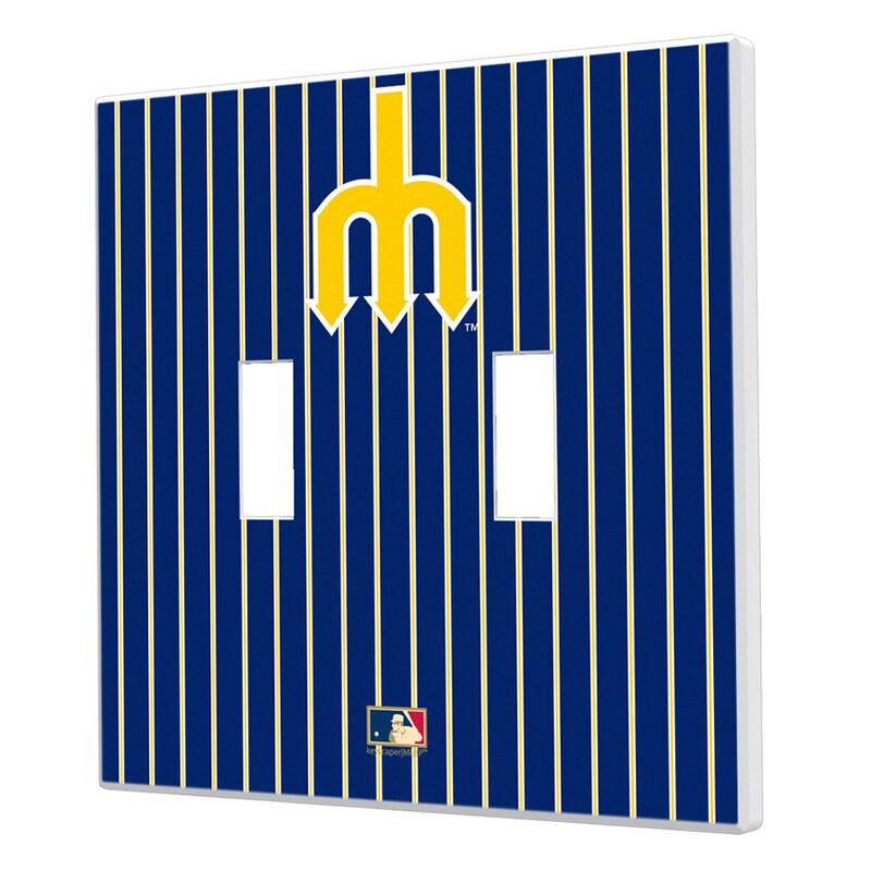 Seattle Mariners 1977-1980 Cooperstown Pinstripe Double Toggle Light Switch Plate