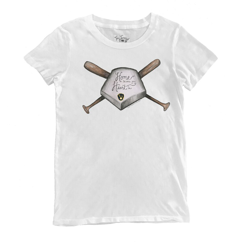 Milwaukee Brewers Tiny Turnip Women's Home Is Where Your Heart Is T-Shirt - White