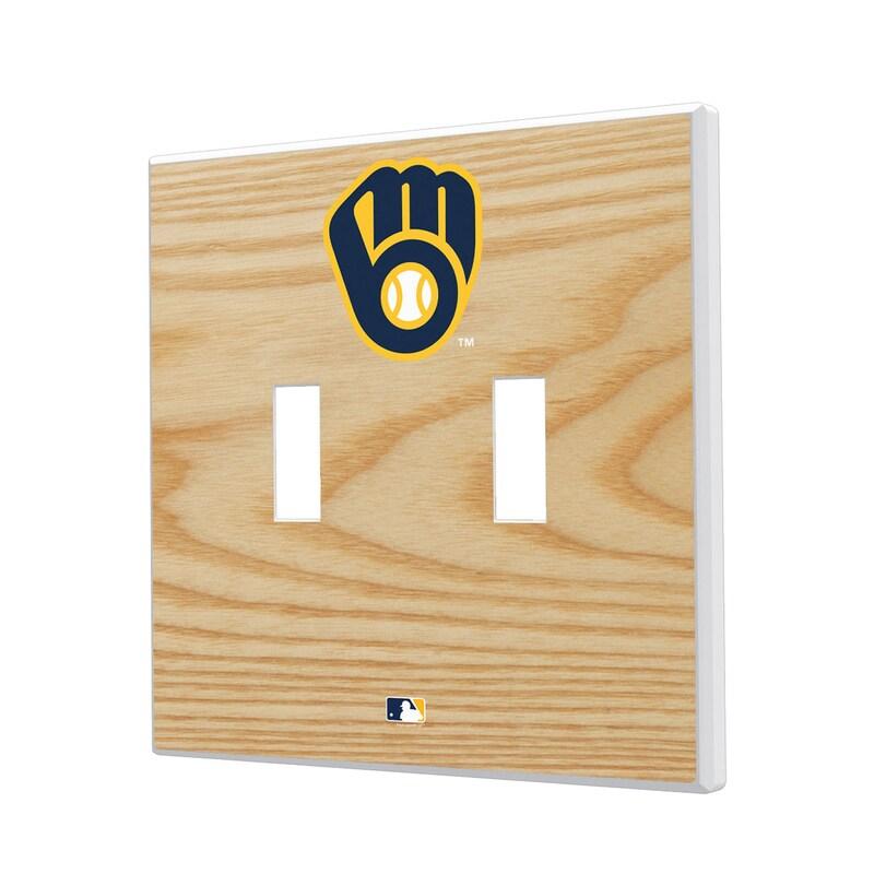 Milwaukee Brewers Baseball Bat Design Double Toggle Light Switch Plates
