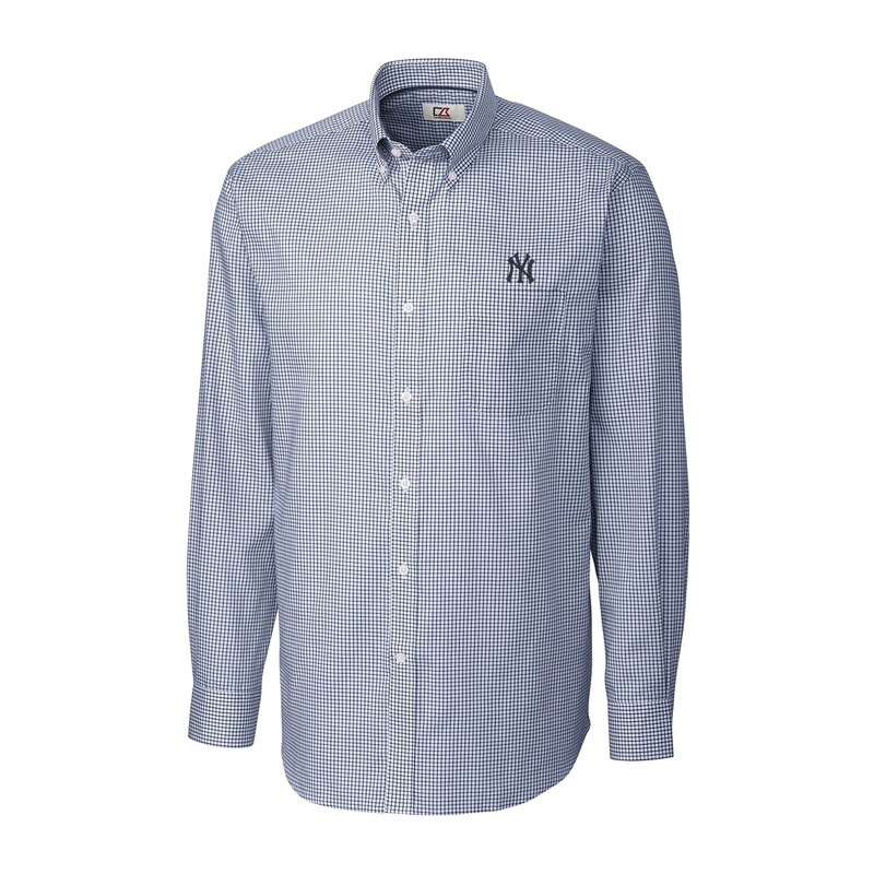 New York Yankees Cutter & Buck Tattersall Woven Long Sleeve Button-Down Shirt - Navy