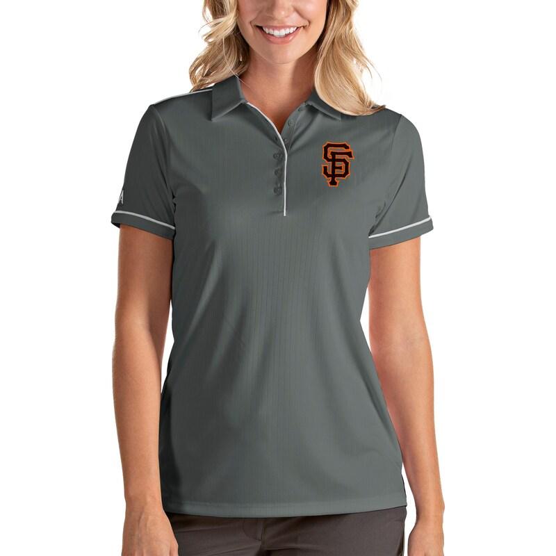 San Francisco Giants Antigua Women's Salute Polo - Gray/White