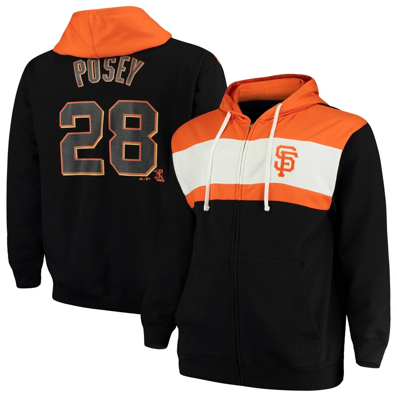 Buster Posey San Francisco Giants Majestic Name & Number Player Pieced Full-Zip Hoodie - Black