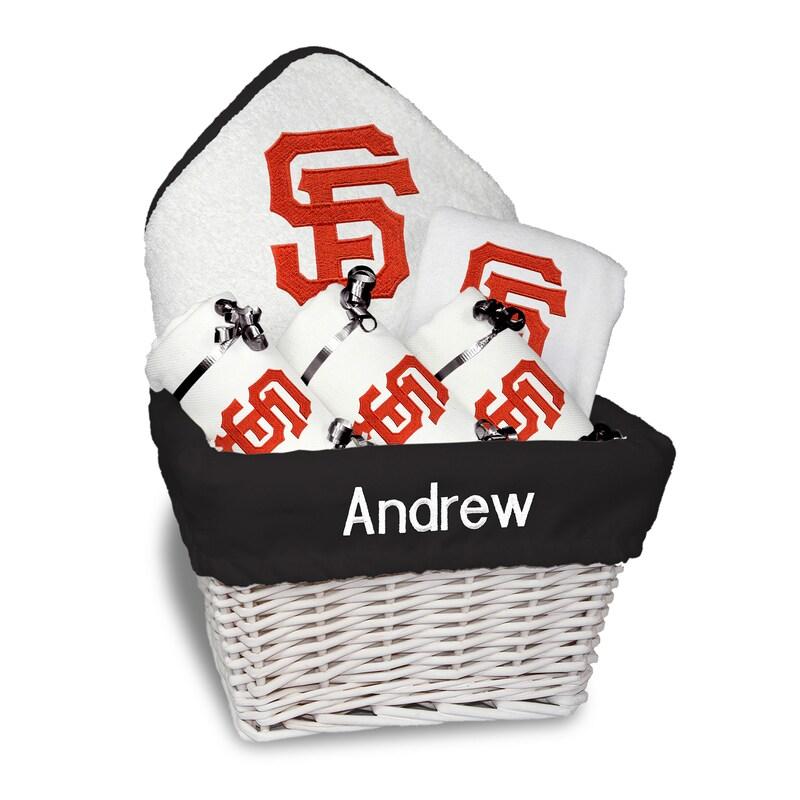 San Francisco Giants Newborn & Infant Personalized Medium Gift Basket - White