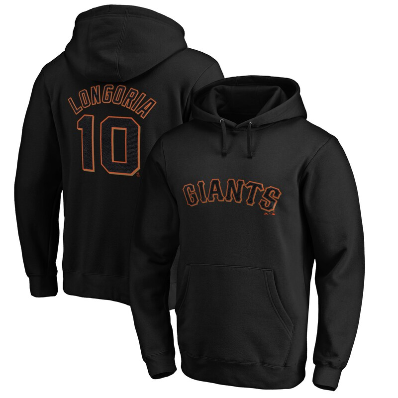 Evan Longoria San Francisco Giants Majestic Authentic Stacked Player Name & Number Pullover Hoodie - Black