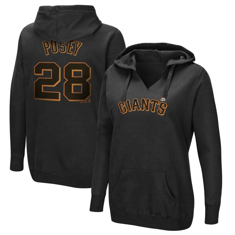 Buster Posey San Francisco Giants Majestic Women's Authentic Name & Number Pullover Hoodie - Black
