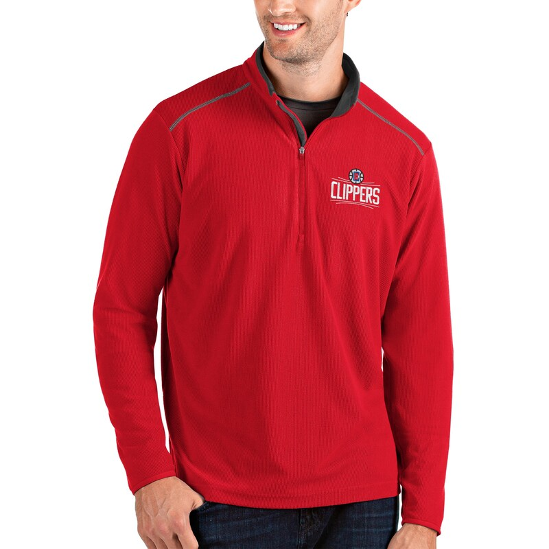 LA Clippers Antigua Glacier Quarter-Zip Pullover Jacket - Red/Gray