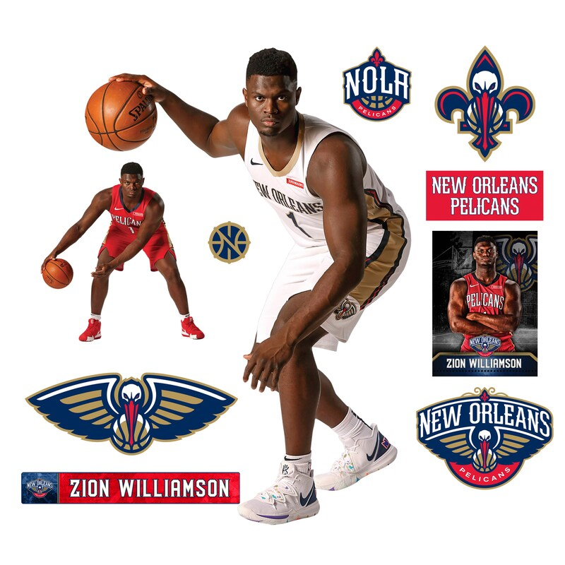 Zion Williamson New Orleans Pelicans Fathead 11-Pack Life-Size Removable Wall Decal