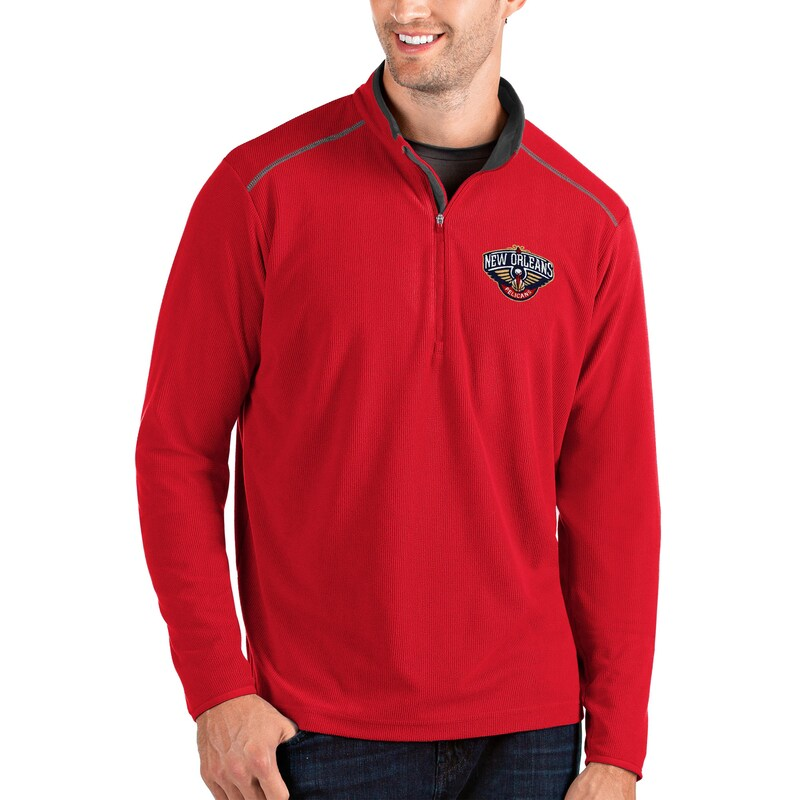 New Orleans Pelicans Antigua Glacier Quarter-Zip Pullover Jacket - Red/Gray