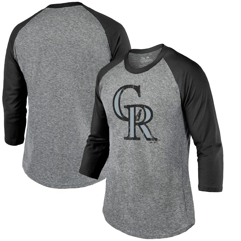 Colorado Rockies Majestic Threads Current Logo 3/4-Sleeve Raglan Tri-Blend T-Shirt - Heathered Gray/Black