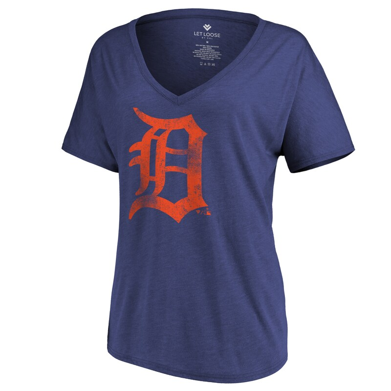 Detroit Tigers Let Loose by RNL Women's Distressed Primary Logo T-Shirt - Navy