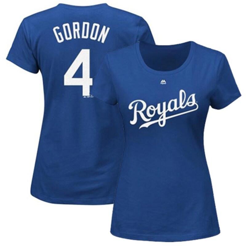 Alex Gordon Kansas City Royals Majestic Women's Name and Number T-Shirt - Royal Blue