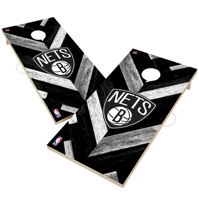 Brooklyn Nets 2' x 4' Herringbone Design Cornhole Set