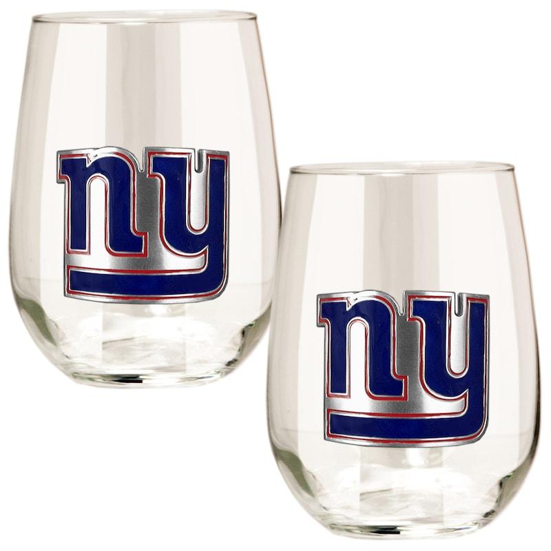 New York Giants 15oz. Stemless Wine Glass Set