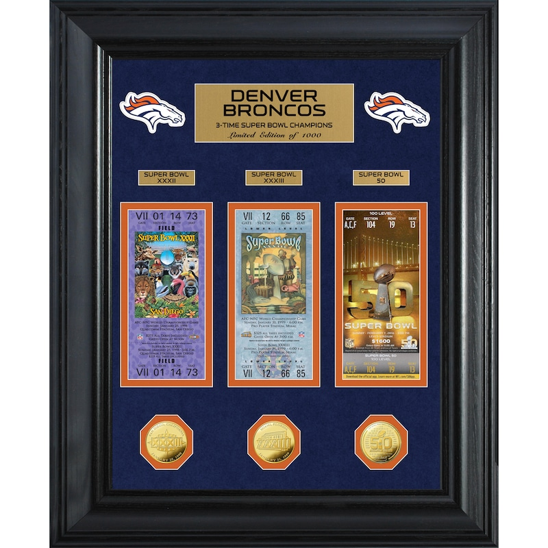 Denver Broncos Highland Mint 3-Time Super Bowl Champions 18'' x 22'' Deluxe Gold Coin Ticket Collection