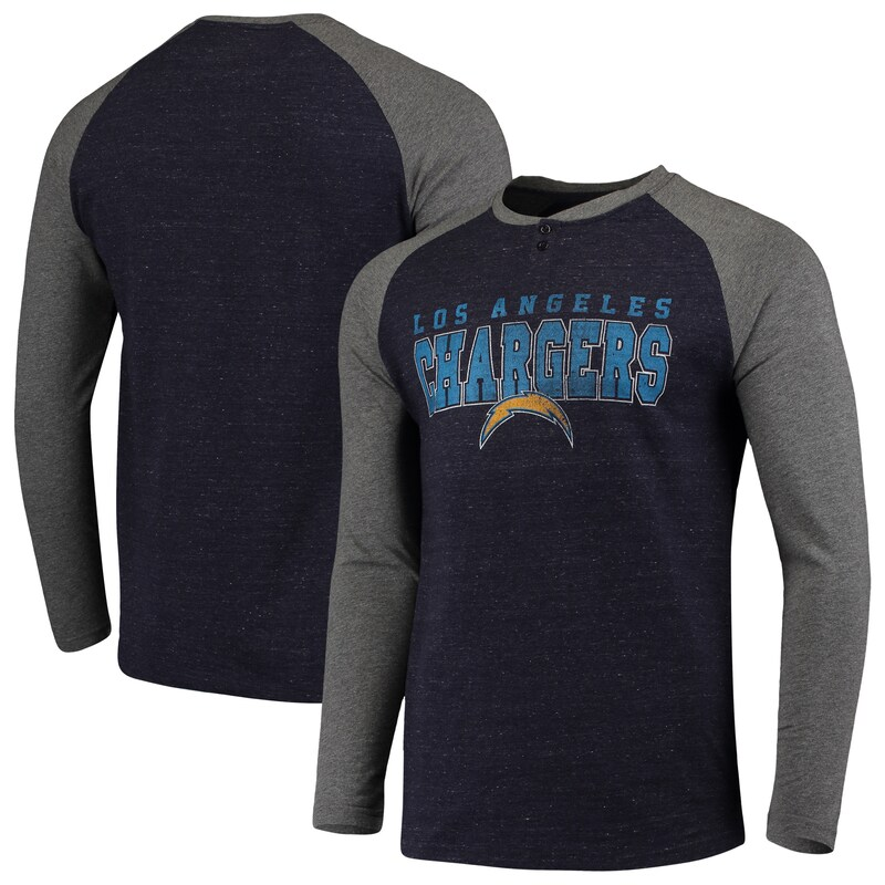 Los Angeles Chargers Concepts Sport Hillstone Henley Raglan Long Sleeve T-Shirt - Heathered Gray/Heathered Charcoal