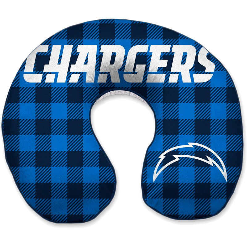 Los Angeles Chargers Buffalo Check Sherpa Memory Foam Travel Pillow - Blue