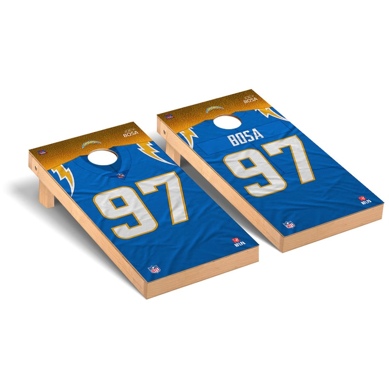 Joey Bosa Los Angeles Chargers 2' x 4' NFLPA Player Cornhole Board Tailgate Toss Set