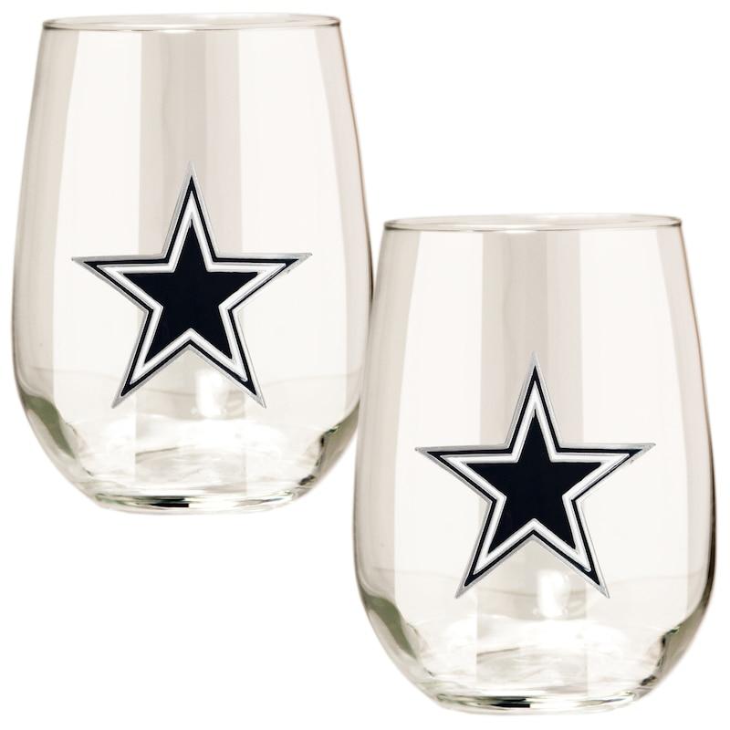 Dallas Cowboys 15oz. Stemless Wine Glass Set