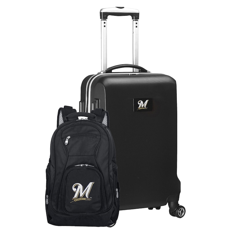 Milwaukee Brewers Deluxe 2-Piece Backpack and Carry-On Set - Black