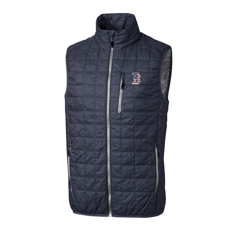 Boston Red Sox Cutter & Buck Stars & Stripes Big & Tall Full-Zip Rainier Vest - Gray